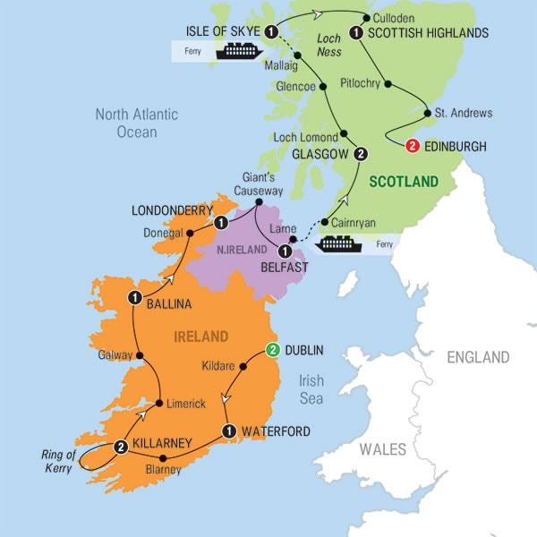 Map Of Ireland And Scotland.15 Day Best Of Scotland And Ireland Trafalgar Shamrock Travel