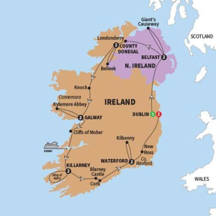 Map Of Ireland Knock.14 Day Jewels Of Ireland Tour Cie Shamrock Travel